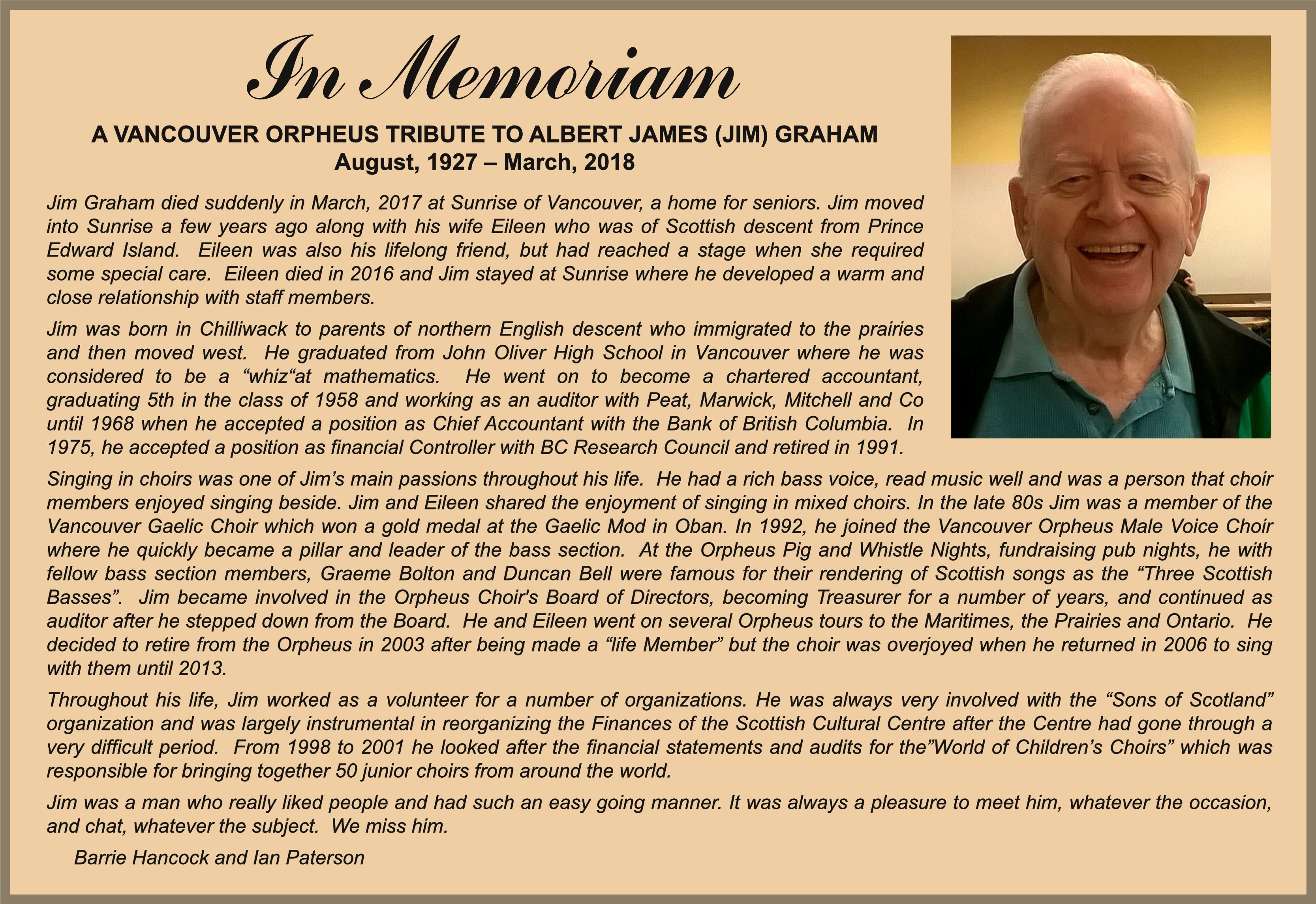 In Memoriam for Jim Graham