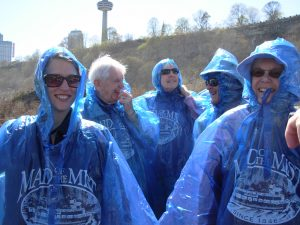 """Ready for the """"Maid of the Mist"""" at Niagra Falls."""